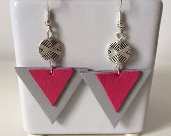 Grey leather and fuchsia earrings