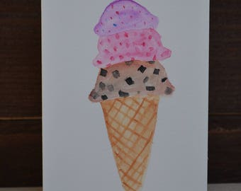 Watercolor ice cream cone card