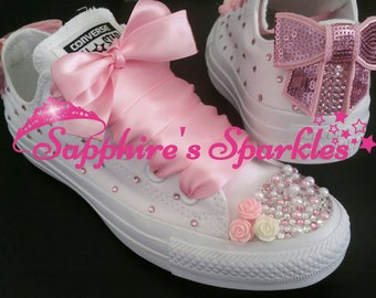 Large Bow Pink Crystal Pearl Flower Customised Bling Mono Baby Pink White Wedding Converse Bride Pink