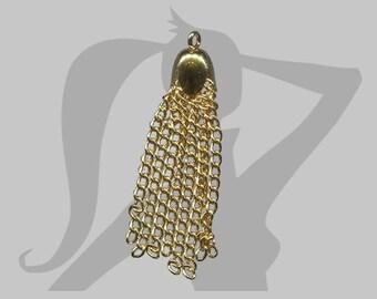 Pompon chaines en métal doré 3,5 cm