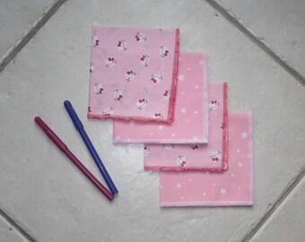 Set of 4 handkerchiefs - kittens and stars designs - made approach zero waste