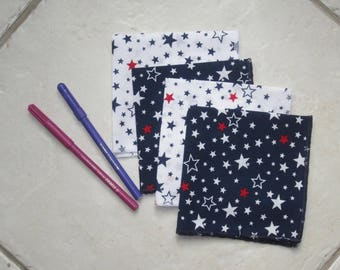 Set of 4 handkerchiefs fabrics - stars pattern - approach zero waste