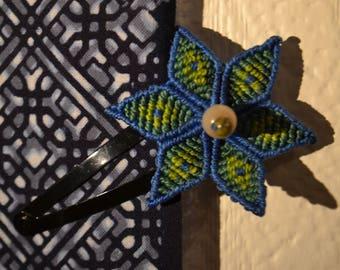 Flower hair clip blue macramé Edelweiss