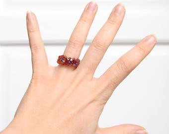 Orange red beads ring