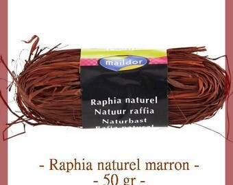 Natural raffia 50 g coffee Brown