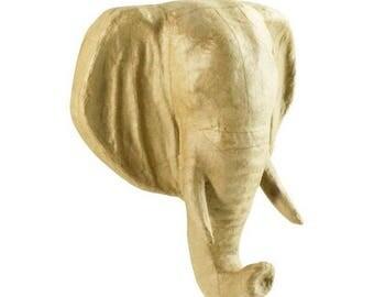 Beautiful head of elephant size 20 x 16 x 8 cm, blank paper mache.