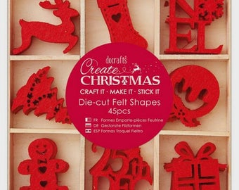 Shapes of Christmas 3 cm - 45 pcs - Docrafts - red felt, in box!
