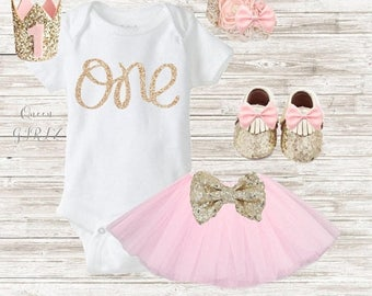 SALE Girl first birthday outfit, gold & pink, pink tutu outfit, birthday outfit, 2nd birthday, 1st birthday outfit, first birthday girl, gli