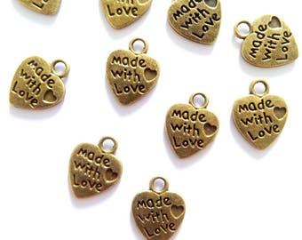 "10 heart charms ""Made with love"" metal bronze"