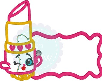 Shopkins Lipstick Inspired name tag machine embroidery applique design Instant Download