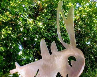 Belly Flop Bunny/ Steel Garden Art