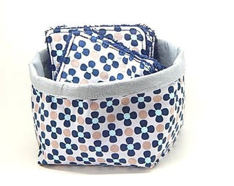 12 wipes baby patterns, flowers, colors Navy Blue and gray