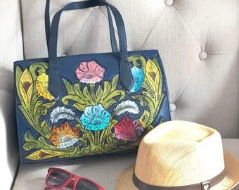 Hand Tooled Blue HandBag/ Real Leather purse/ Mexican purse/ hand tooled leather bags / hand tooled purse / Leather Handbag