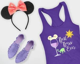 Epcot Drink Around the World Shirt, Disney Shirt for Women, Tangled Drinking Tank, Ladies Rapunzel Top