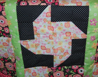 Pinwheel and Flower Baby Quilt
