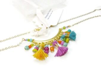 Gold Choker necklace Hippie chic and Pop multicolor Tutti-Frutti