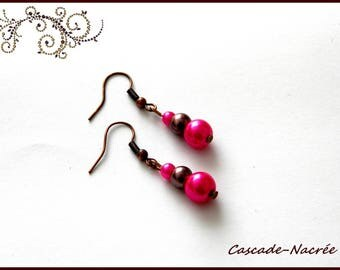 wedding Pearl Earrings bridal chocolate fuschia Pearl