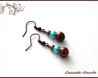 chocolate turquoise bridal wedding Pearl Earrings Pearl