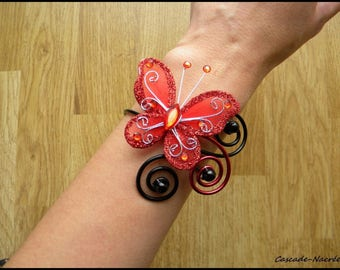Butterfly Celine black red aluminum bridal wedding pearl bracelet