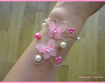 Bridal bracelet Tiphaine butterflies Pink Silver White Pearl wedding