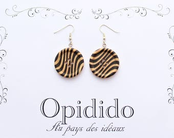 """Zebra"" wooden button earrings"