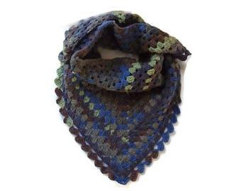 MIXED man or woman crochet scarf handmade charcoal grey wool green cobalt blue