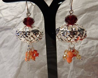 Pair of warm colors beads and Silver earrings