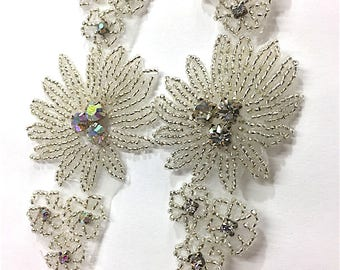 "2""  Crystal Beaded Rhinestone Trim Gold-Silver #1228"