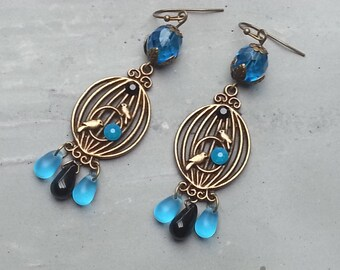 Earrings retro bronze drops birds black and blue rhinestones with Blue Pearl