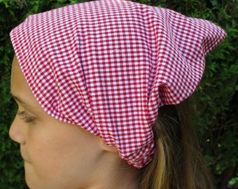 kerchief / scarf for girl's red gingham cotton