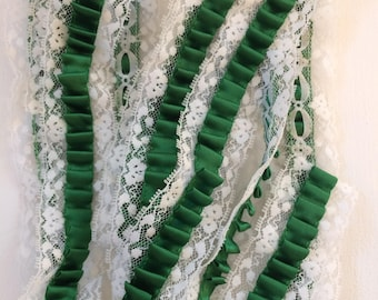 "White Lace With Green Pleated Ribbon Trim 1.5"" Wide-25"