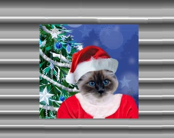 Very large magnet with cat, customizable, your Santa