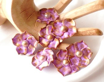 Flower cabochons * delicate purple and gold * N ° 2 unit