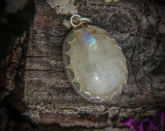 Moonstone Silver Pendant - Indian-Silver - Jewelry - Gemstone - Mineral - Handmade - Minimal