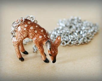 Forest deer necklace & silver chain