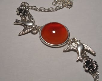 Carnelian silver adjustable chain bracelet