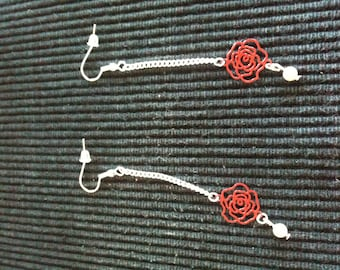 Earrings pink red filigree