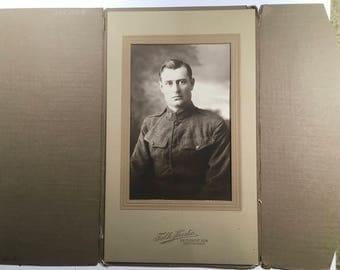 Antique photograph Military man, Geo. O'Rourke, Falk Studio, Boston, Mass possibly WW1