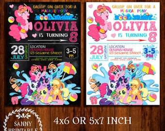 My Little Pony Invitation, My Little Pony Birthday, My Little Pony Invite, My Little Pony Party, My Little Pony Pool Party