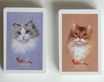 2 sets of 52 cards in the image of a Ragdoll cat and a Somali Abyssinian cat