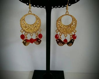 Faceted red and gold bird earrings