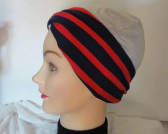 Navy blue jersey twisted turban headband with red stripes