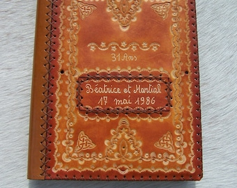 Handmade brown leather wedding anniversary theme book cover
