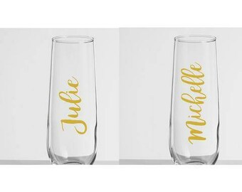 Personalized Stemless Champaign Flutes, Custom Name Wedding Flutes, Wedding Party Gift, Wedding Party Champaign Flutes, Bridal Party Gifts
