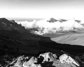 Black and White Original Photography Print - Maui  Hawaii - Landscape Photography - Haleakala Crater Photo - Travel Photography - Home Decor