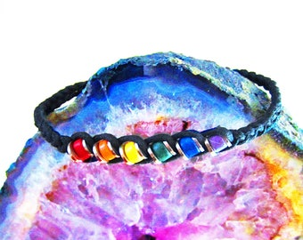 Rainbow Ceramic Bead Woven Leather Bracelet