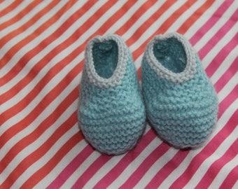 light blue booties baby wool