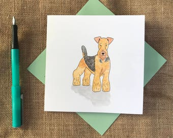 Hand painted airedale terrier card