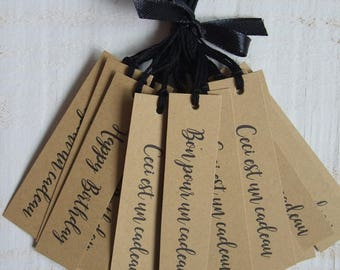 Set of 25 Tags labels Kraft gift box