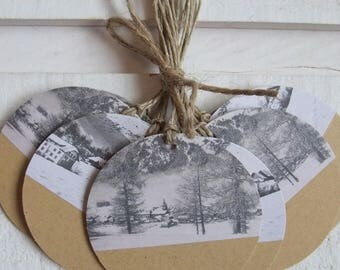 "Set of 12 kraft tags ""Snowy Mountain Village"""